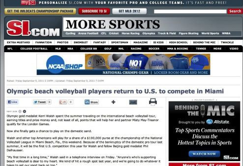 Olympic beach volleyball players return to U.S. to compete in Miami
