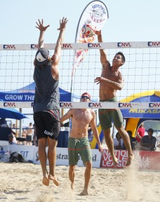 During the Milwaukee National Volleyball League Championships July 12, 2015 at Bradford Beach in Milwaukee, WI.    (Photo by Jeff Haynes)